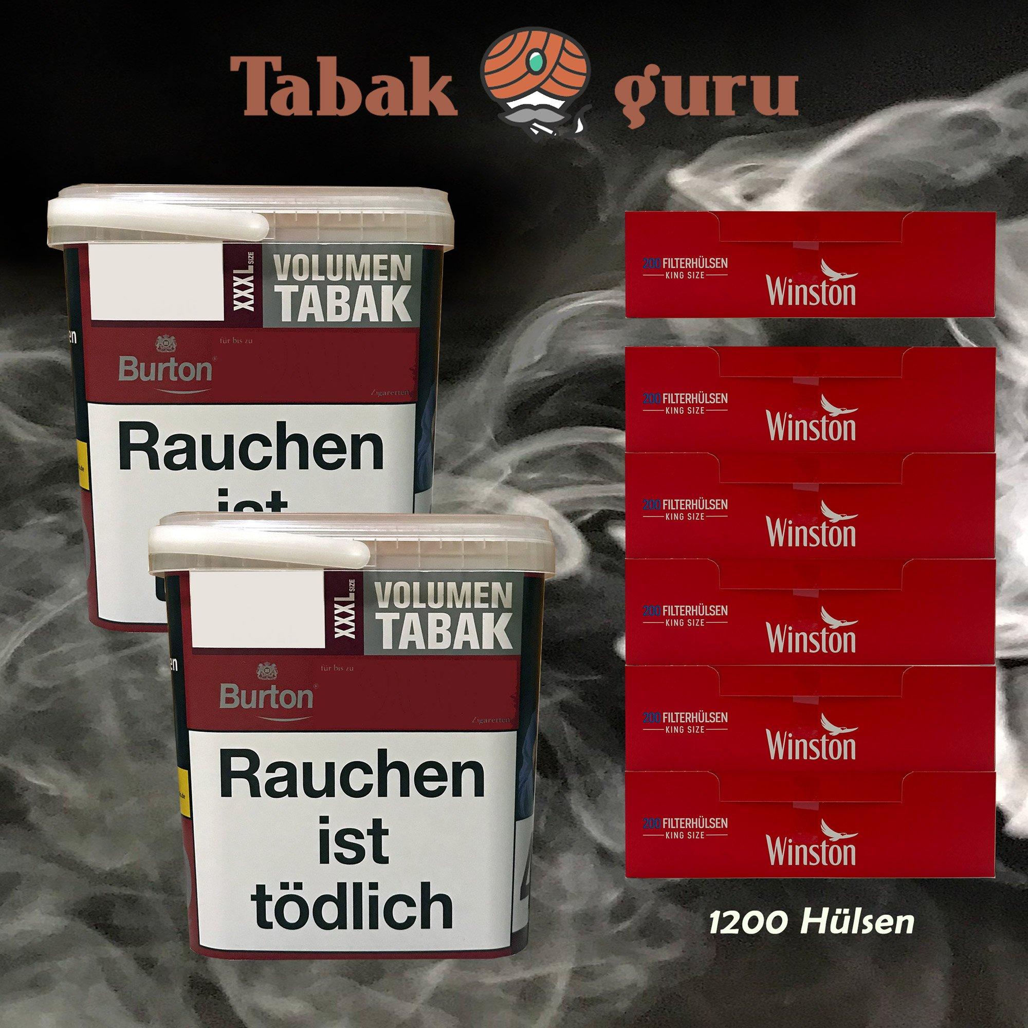 2x Burton Red Volumentabak / Zigarettentabak XXXL Eimer 370g, 1.200 Hülsen
