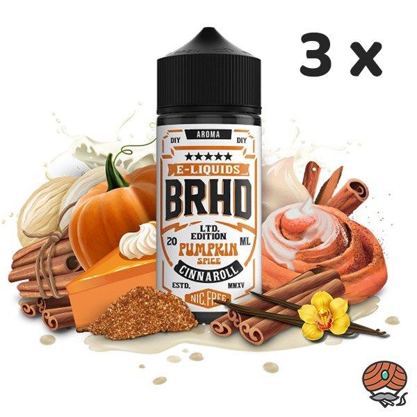 3 x BRHD Barehead Pumpkin Spice & Cinnanroll Ltd. Edition DIY Vape Aroma 20 ml Shake & Vape