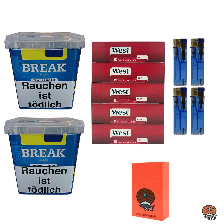 2x Break Blue / Blau Volumentabak Giga Box 230g + 1000 West Hülsen + Zubehör
