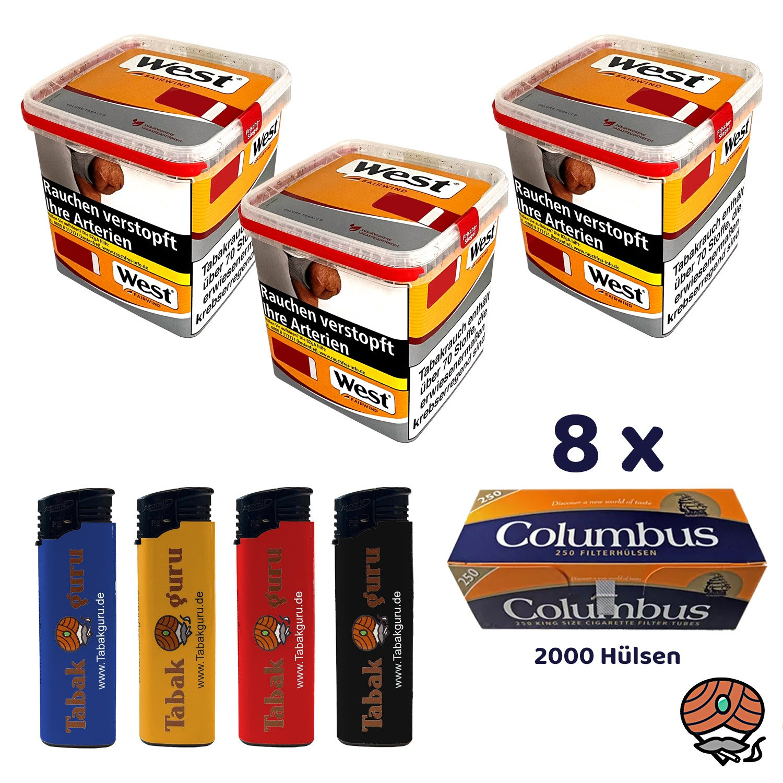 3 x West Yellow Tabak / Stopftabak Box 280 g, 2000 Columbus Hülsen
