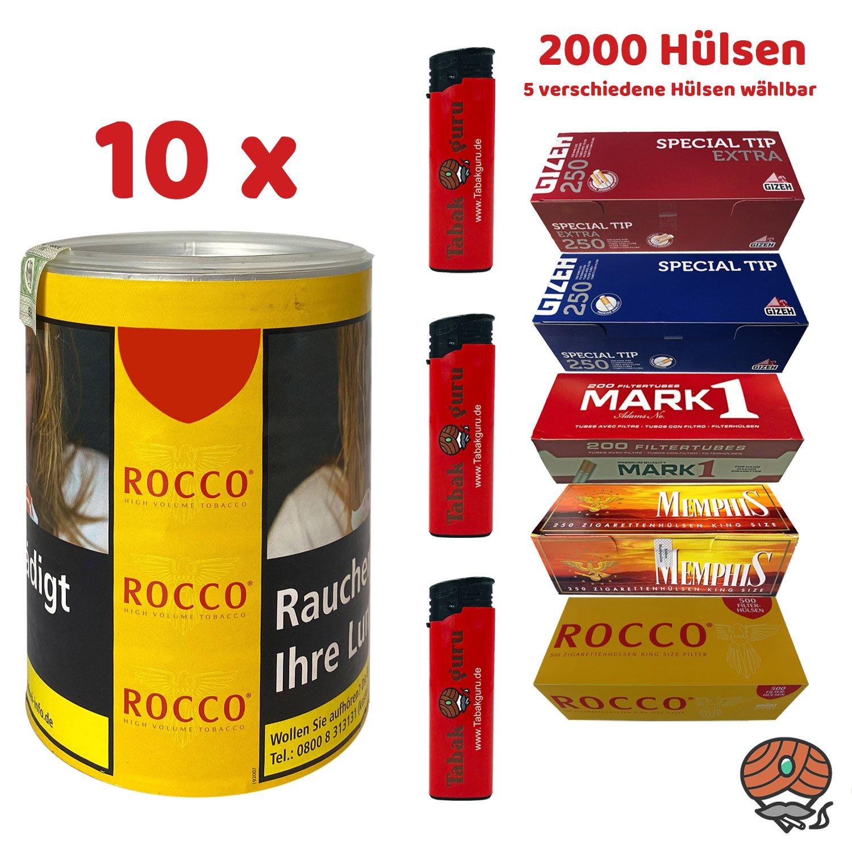 10 x ROCCO Tabak / Volumentabak Gelb Dose 70 g + 2.000 Hülsen wählbar + Zubehör