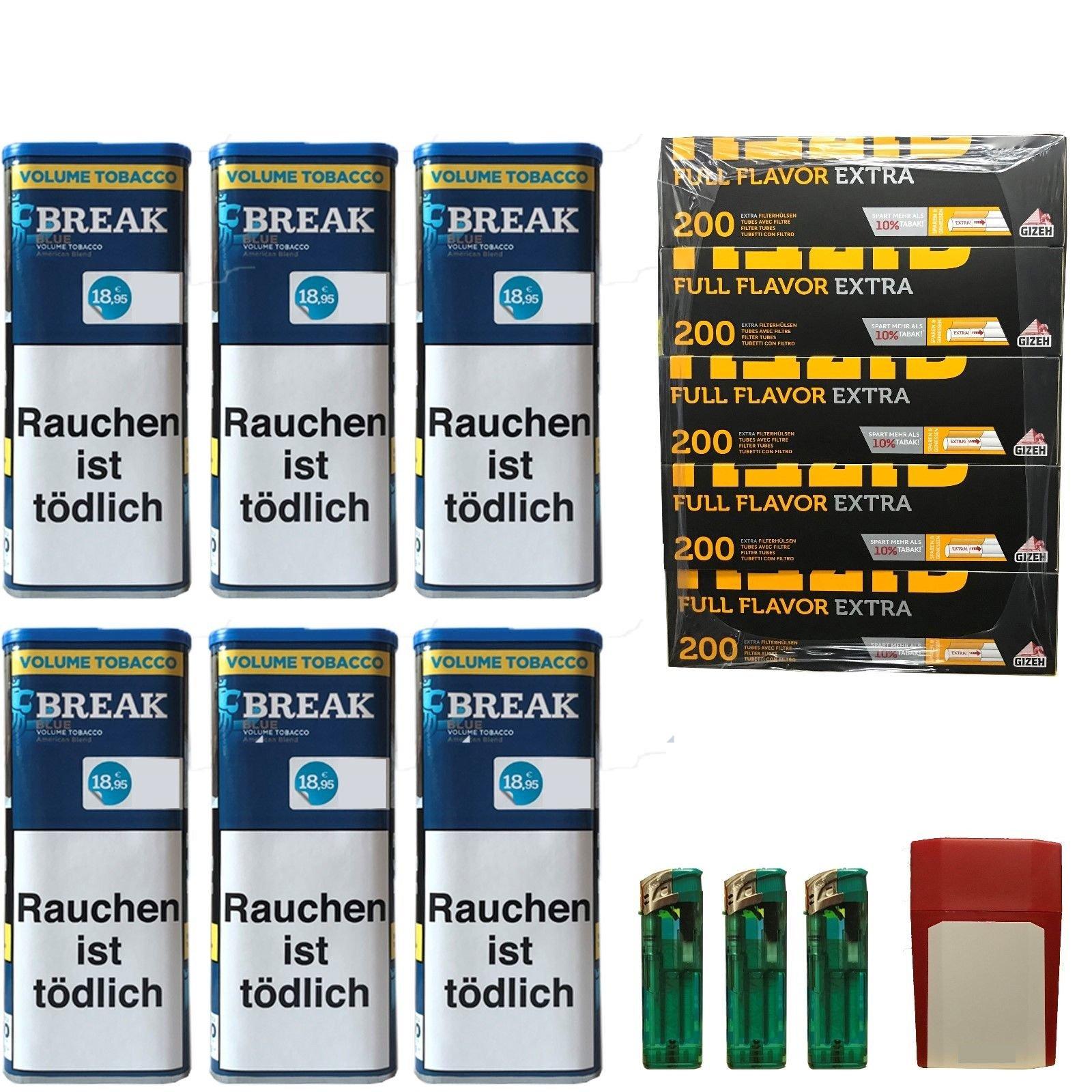 6x Break Blue/Blau XXL Volumentabak 120g, Full Flavor Extra Hülsen, Feuerz., Box