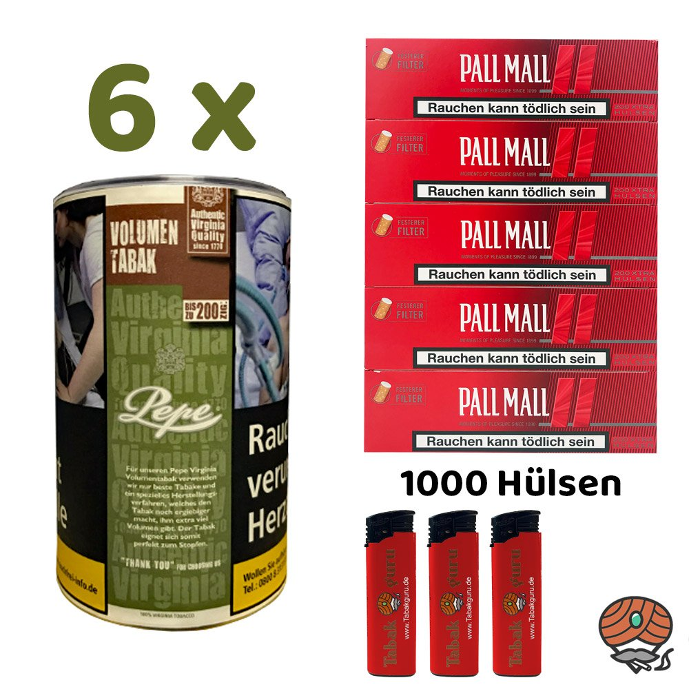6x Pepe Rich Green Tabak / Volumentabak 85g + Pall Mall Red Hülsen, Feuerzeuge