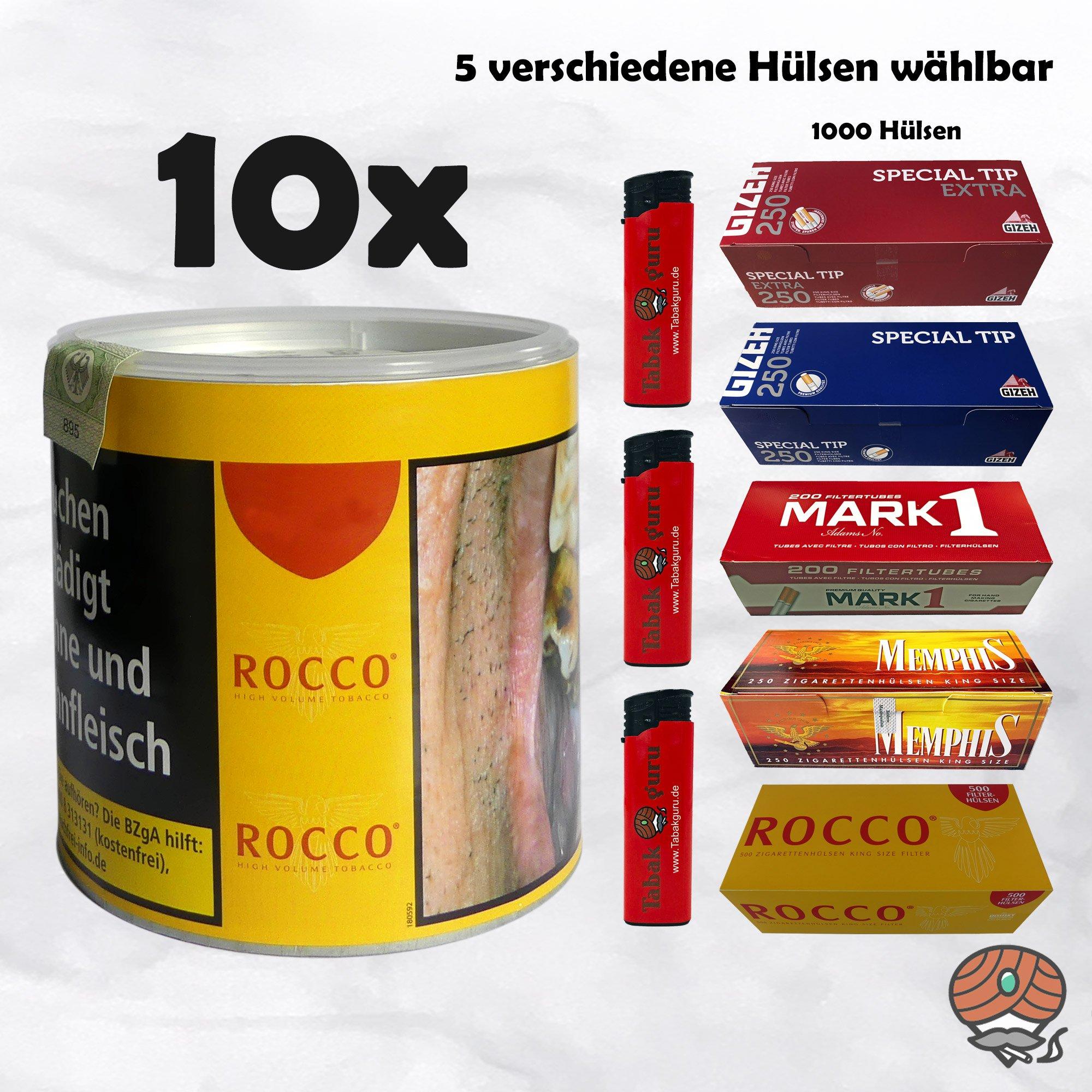 10 x ROCCO Tabak / Volumentabak Gelb Dose 35 g + 1.000 Hülsen wählbar