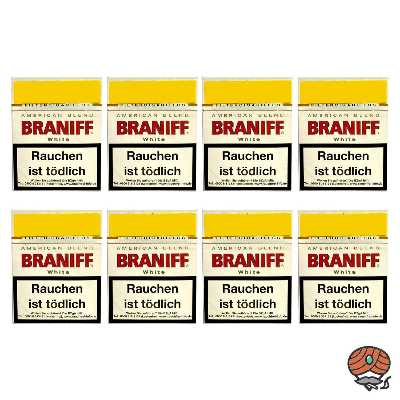 8 x Braniff White Filterzigarillos Big Pack á 23 Stück - 1 Stange