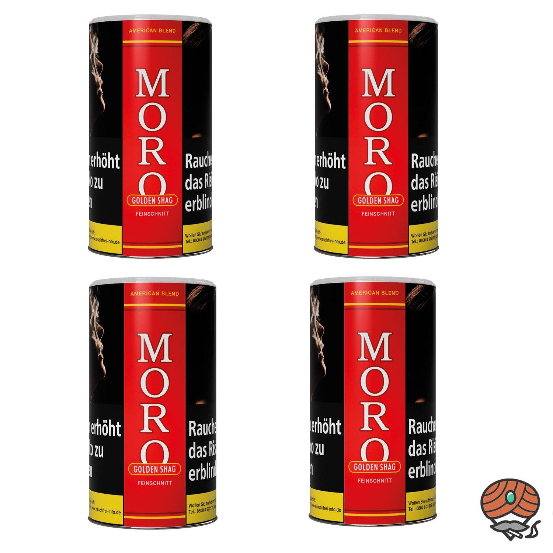 4 x Moro Rot Golden Shag Feinschnitt, Dreh-/ Stopftabak 180 g Dose