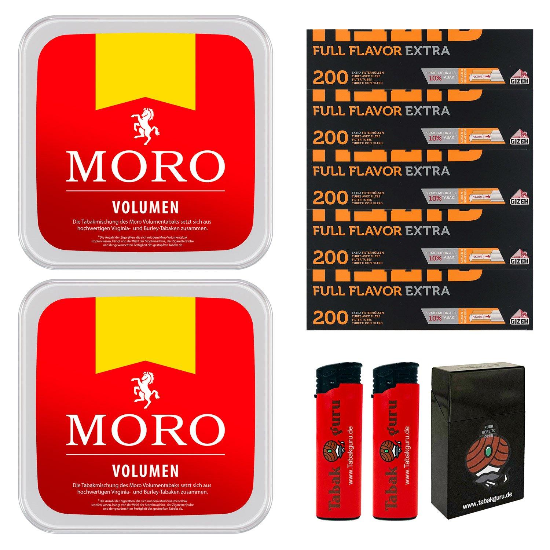 2 x Moro Rot Volumentabak 225 g Box + 1000 Gizeh Extra Hülsen + Zubehör