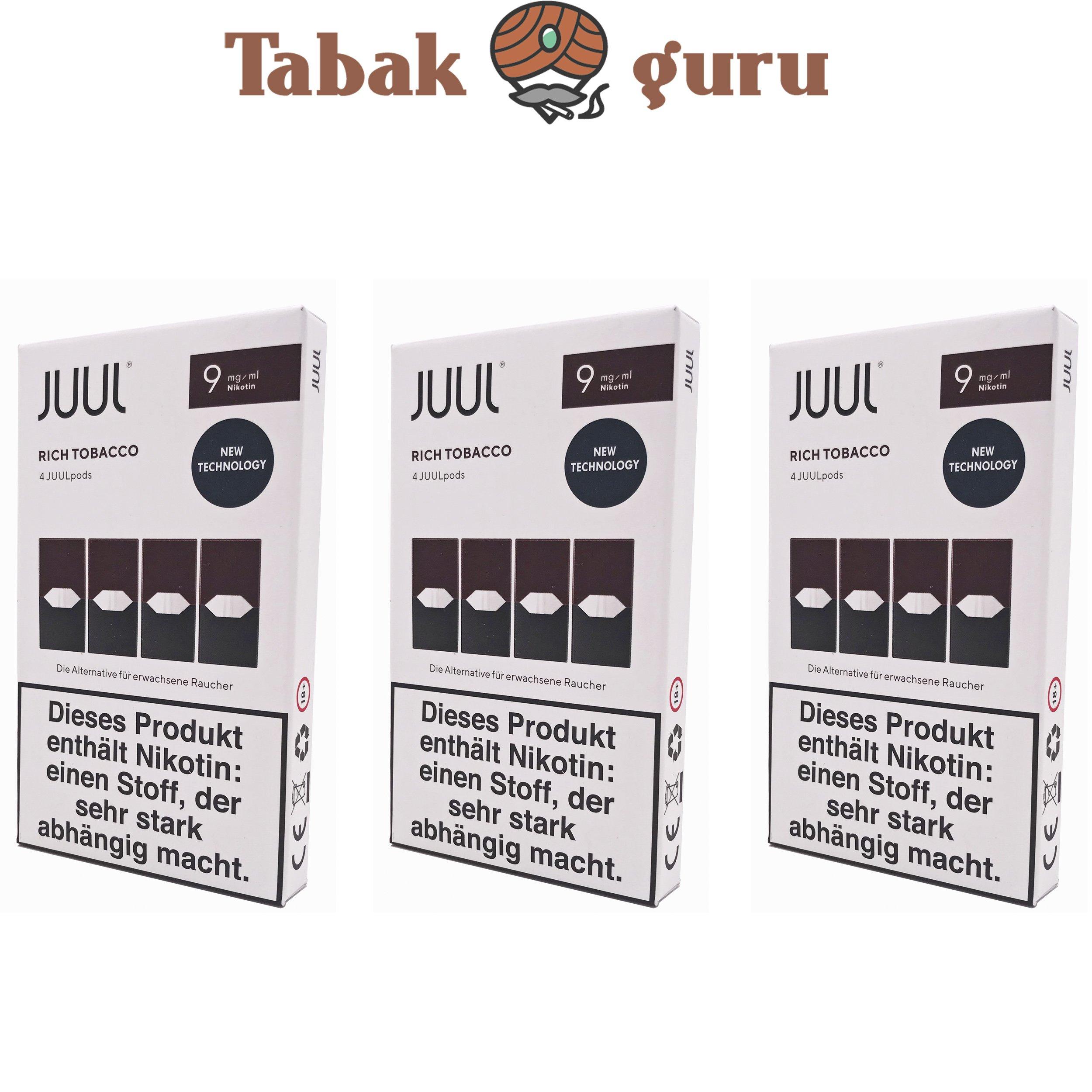 JUUL 3 Packungen Rich Tobacco Pods 9mg/ml á 4 Pods