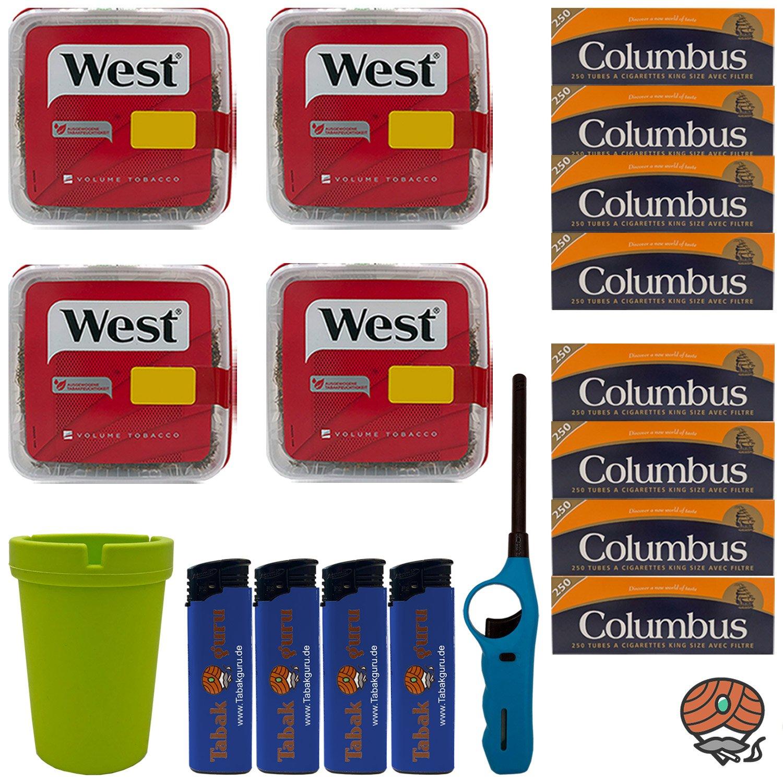 4x West Red / Rot Volumentabak Box 170g + 2000 Columbus Hülsen + Zubehör