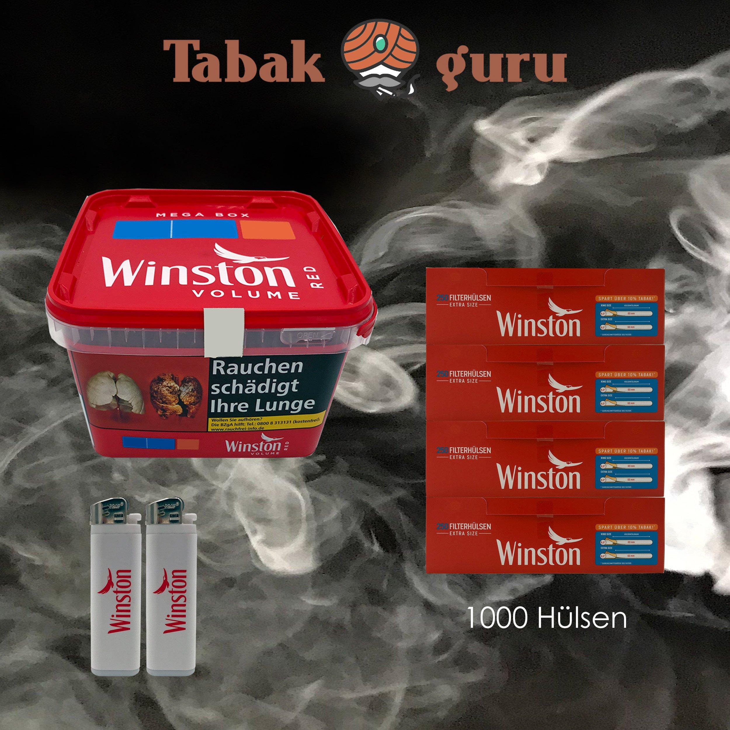1x Winston Classic Red / Rot Mega Box 170g Volumentabak, 1000 Winston Extra Hülsen