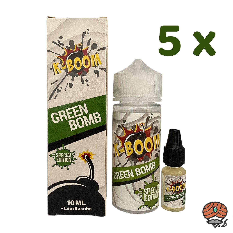 5 x K-BOOM Green Bomb 10 ml Aroma + Leerflasche, Longfill