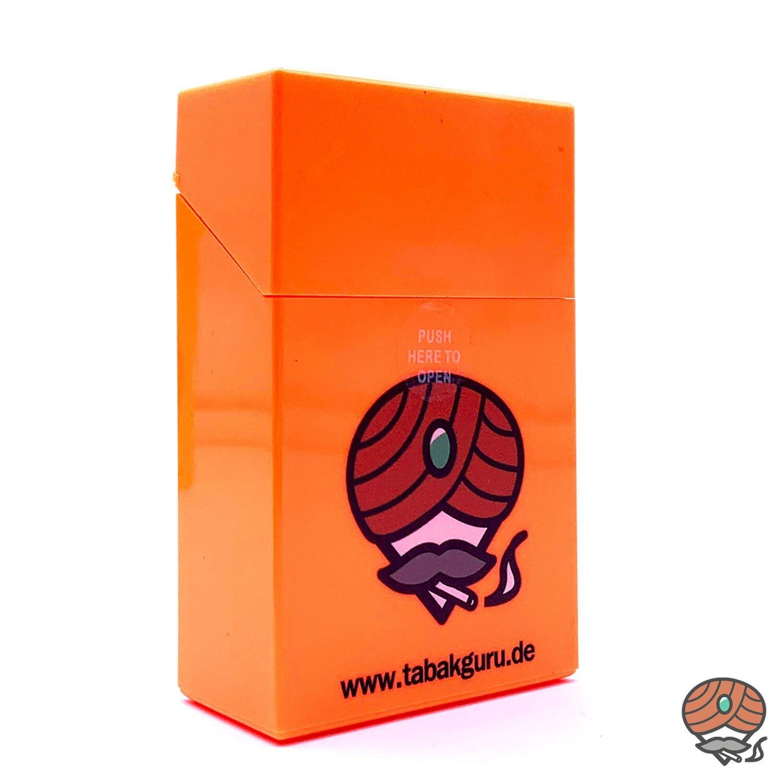 Atomic Sprungdeckel Zigarettenbox Orange Tabakguru Motiv
