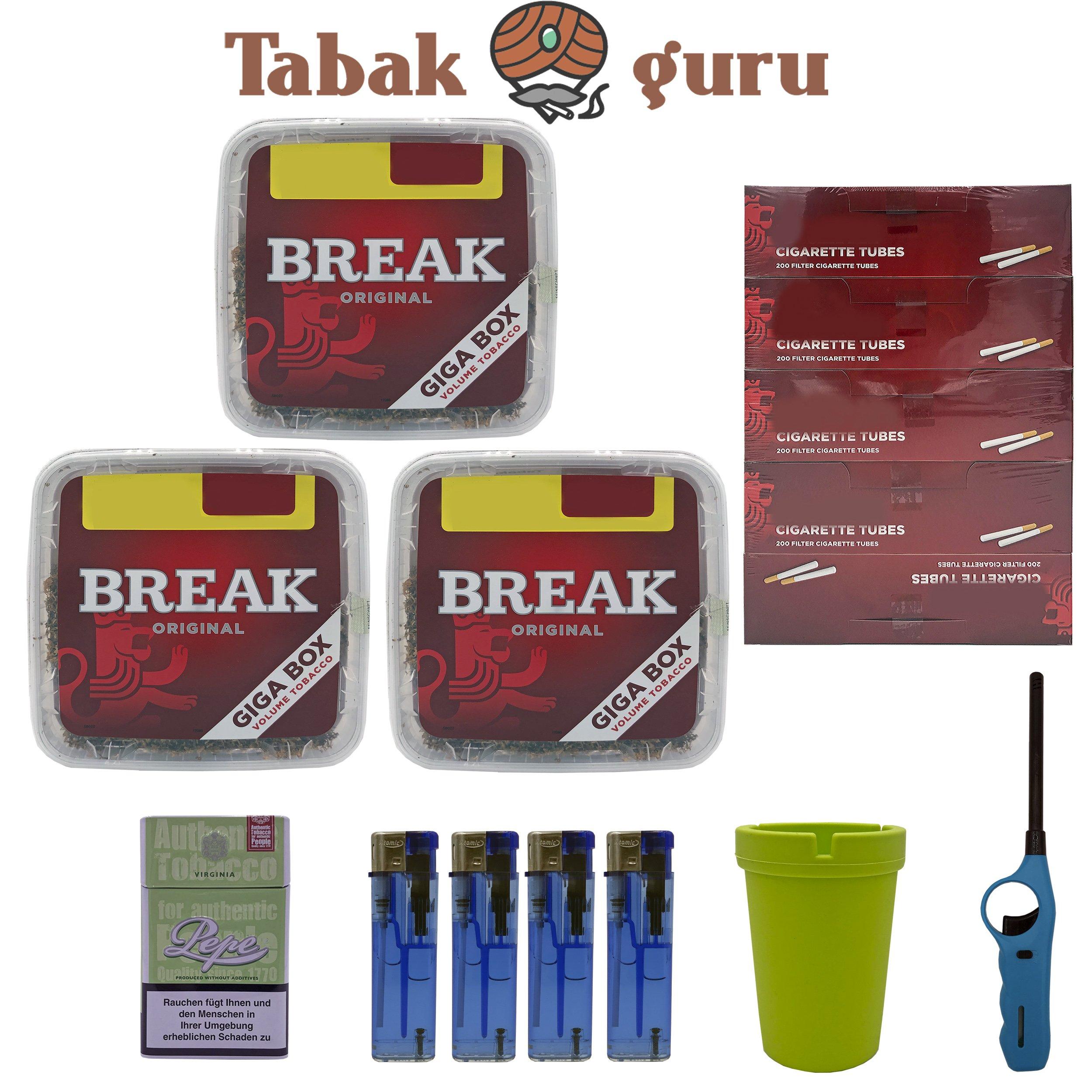 3x Break Volumentabak Giga Box 240g + Hülsen + Stabfeuerzeug