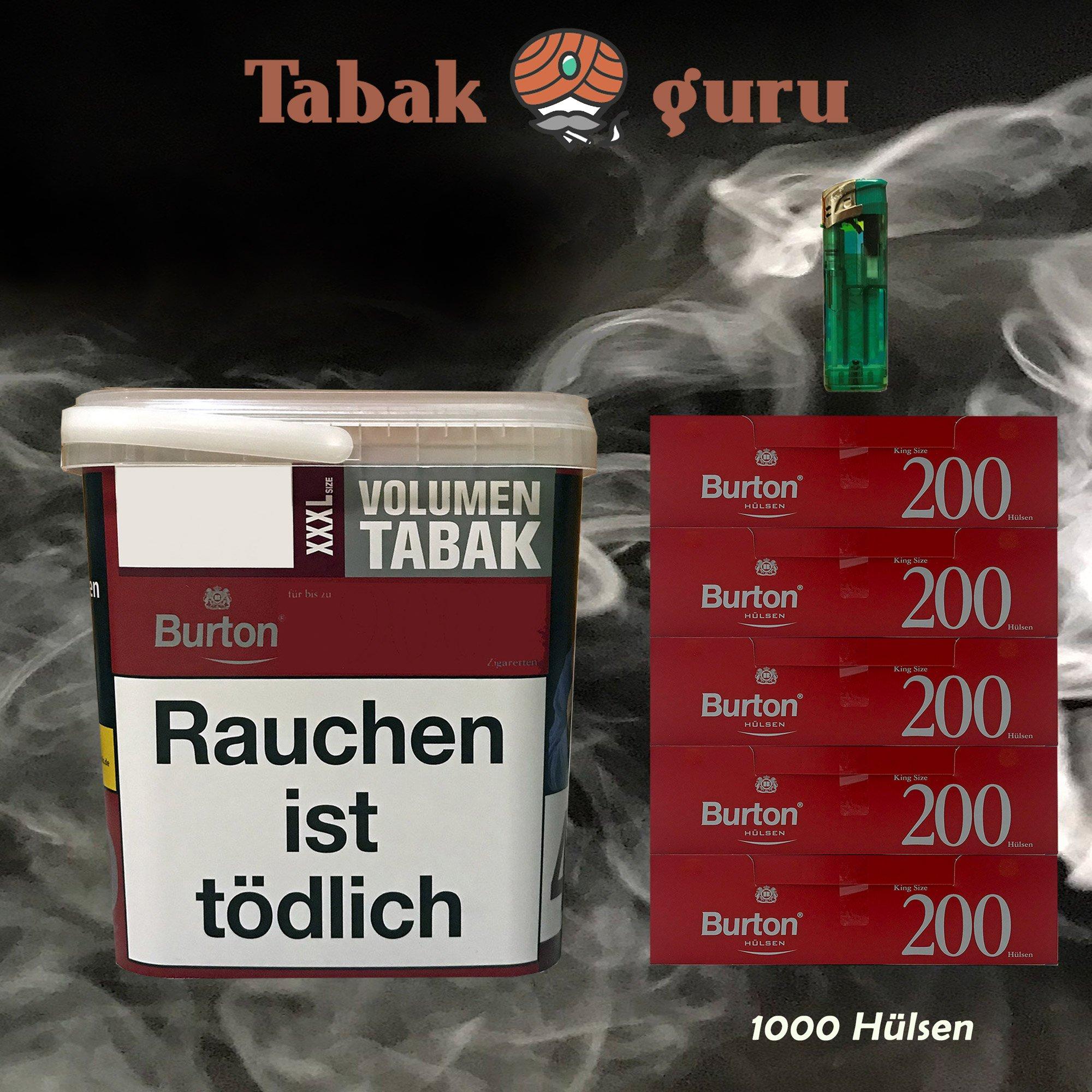 1x Burton Red Volumentabak / Zigarettentabak XXXL Eimer 370g, Hülsen, Feuerzeug