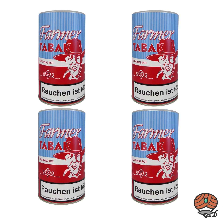 4 x Farmer Original Rot Tabak Pfeifentabak / Stopftabak 160 g Dose