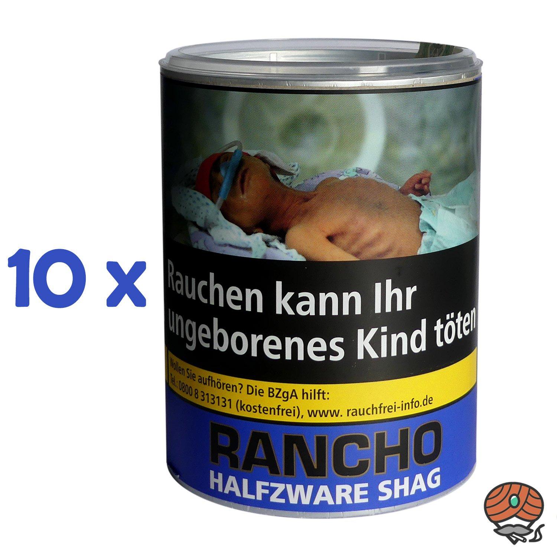 10 x Rancho Halfzware Shag Zigarettentabak Dose à 190 g