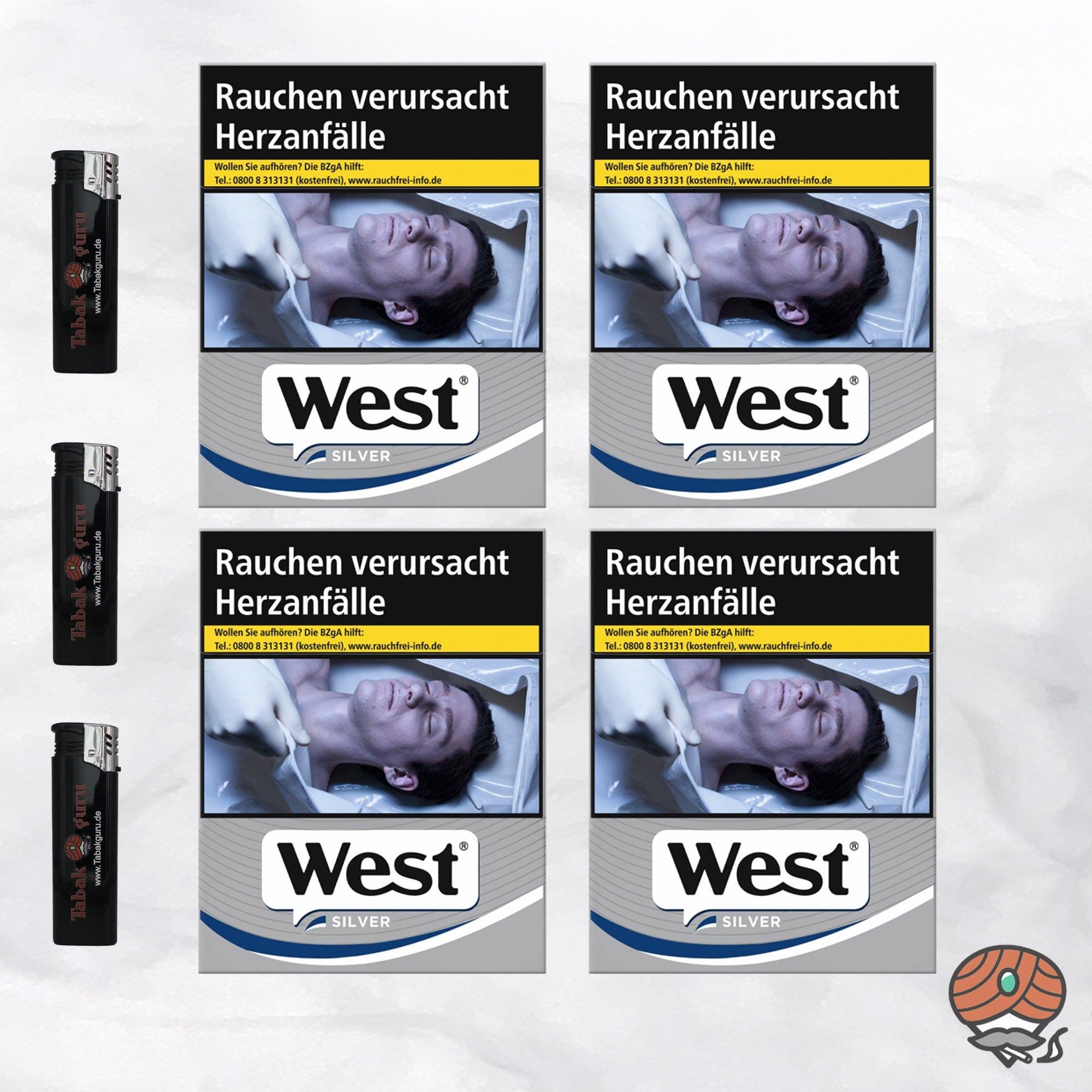 4 x West Silver Zigaretten à 37 Stück + 3 Feuerzeuge
