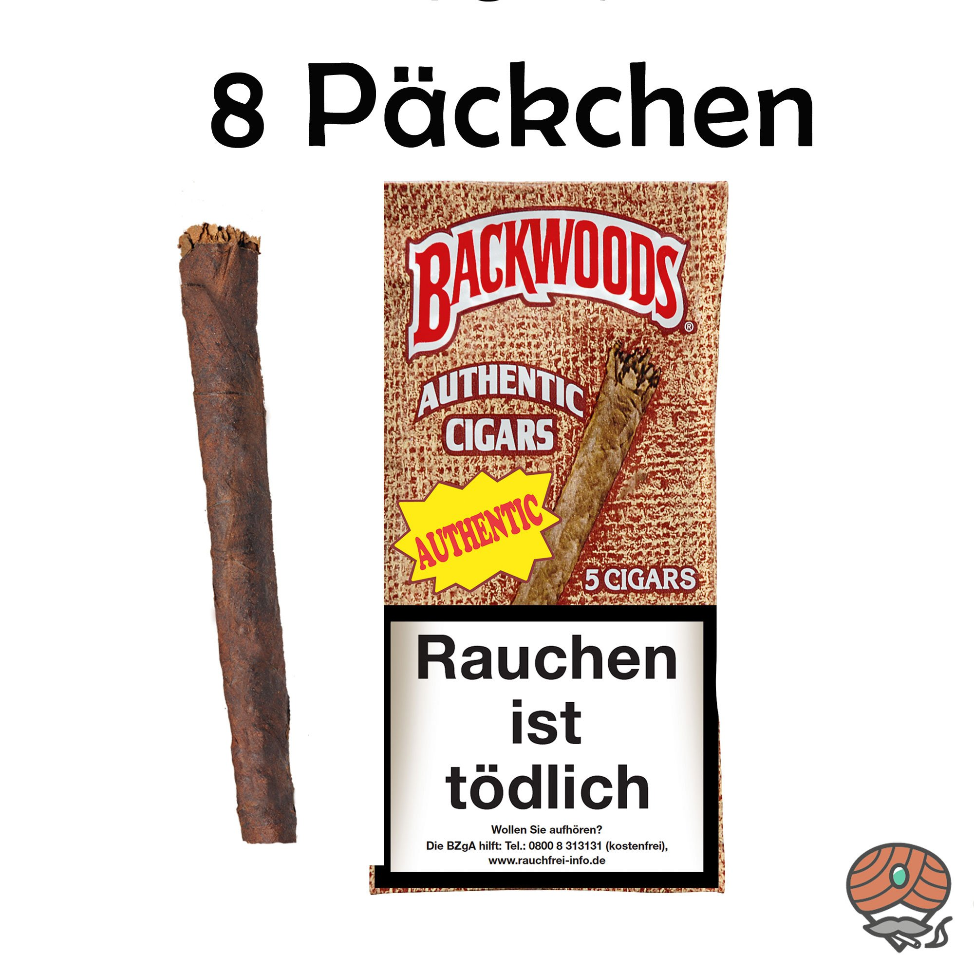 8 Päckchen Backwoods Authentic Cigars à 5 Stück 100% Tabak im Humipack