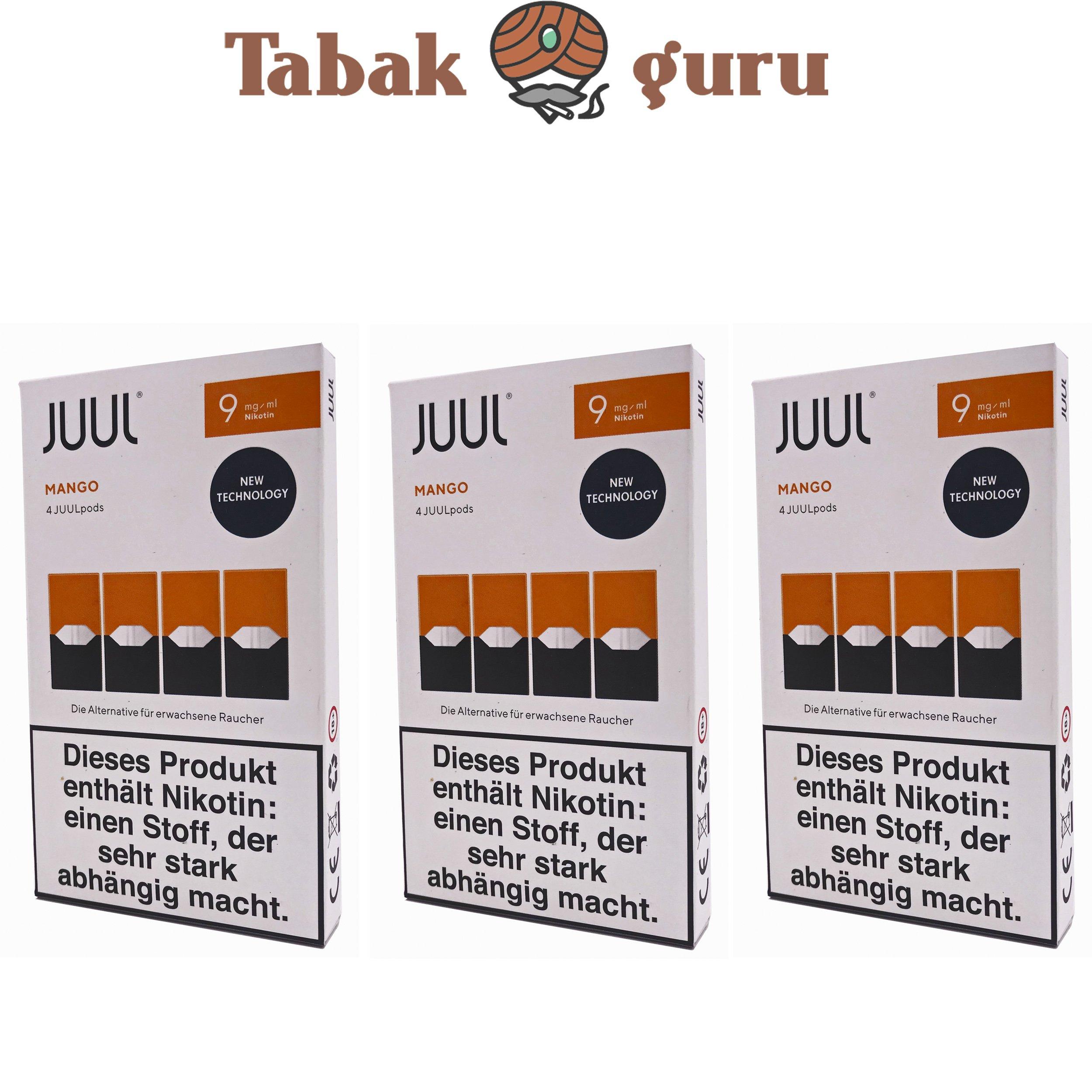JUUL 3 Packungen Mango Pods 9mg/ml á 4 Pods