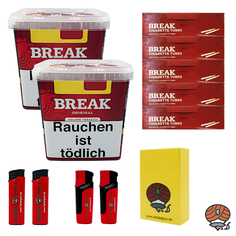 2 x Break Original Volumentabak Giga Box 230 g + 1000 Break Hülsen + Zubehör