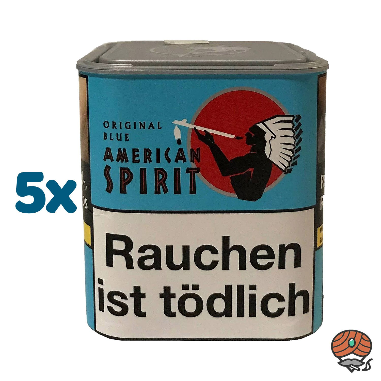 5 x American Spirit Original Blue / Blau Tabak 80 g Dose