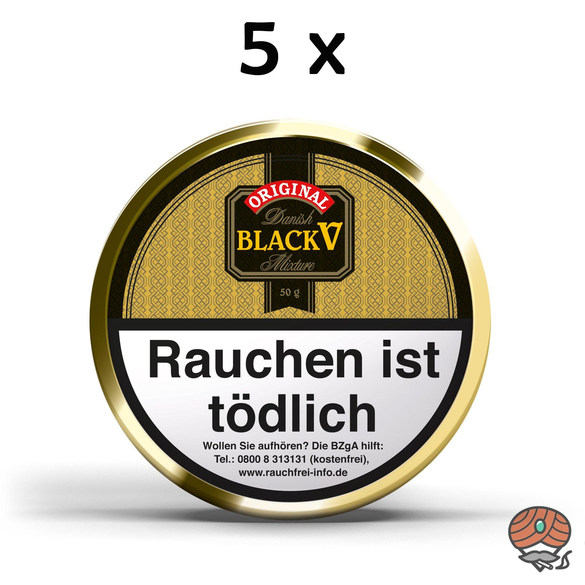 5 x Danish Black V Pfeifentabak Vanille Aroma á 50g Dosen