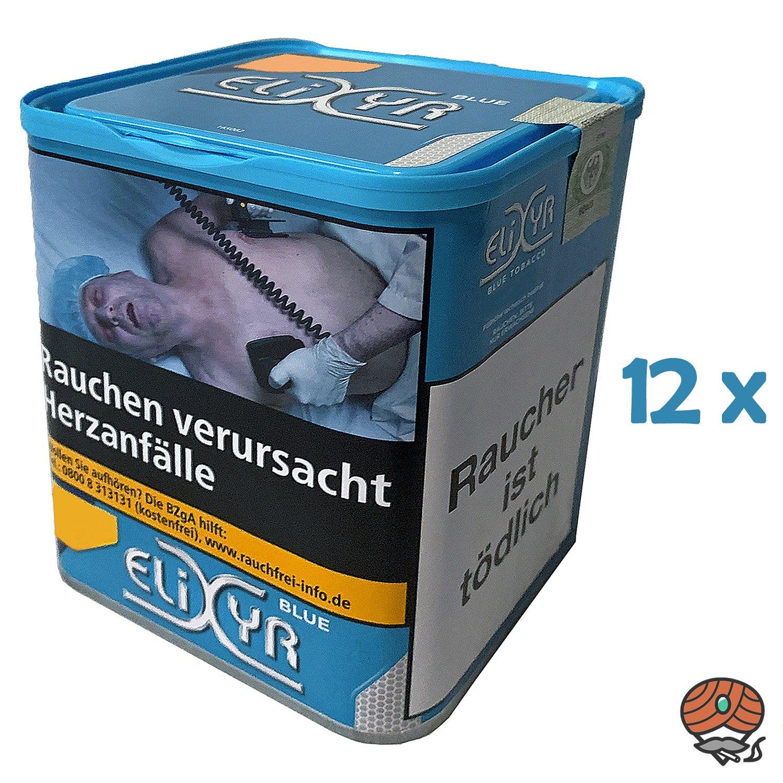 12x Elixyr Blue / Blau Tabak / Feinschnitt-Tabak / Zigarettentabak Dose à 115g