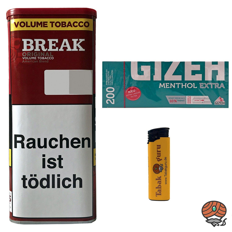 1x Break Original 115g Dose Volumentabak + 200 Gizeh Menthol Extra Hülsen + 1 Feuerzeug