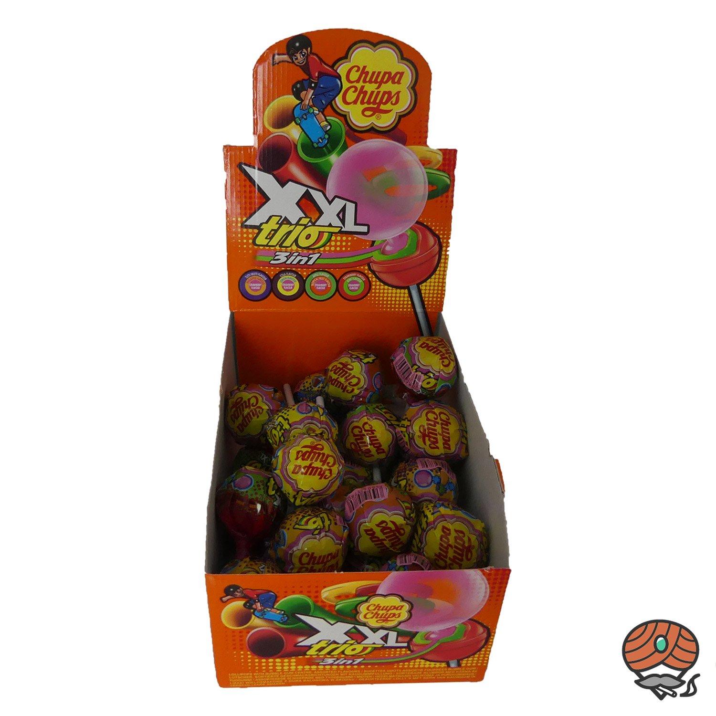25 x Chupa Chups XXL Trio 3 in 1 Lollipop mit Kaugummi à 29 g