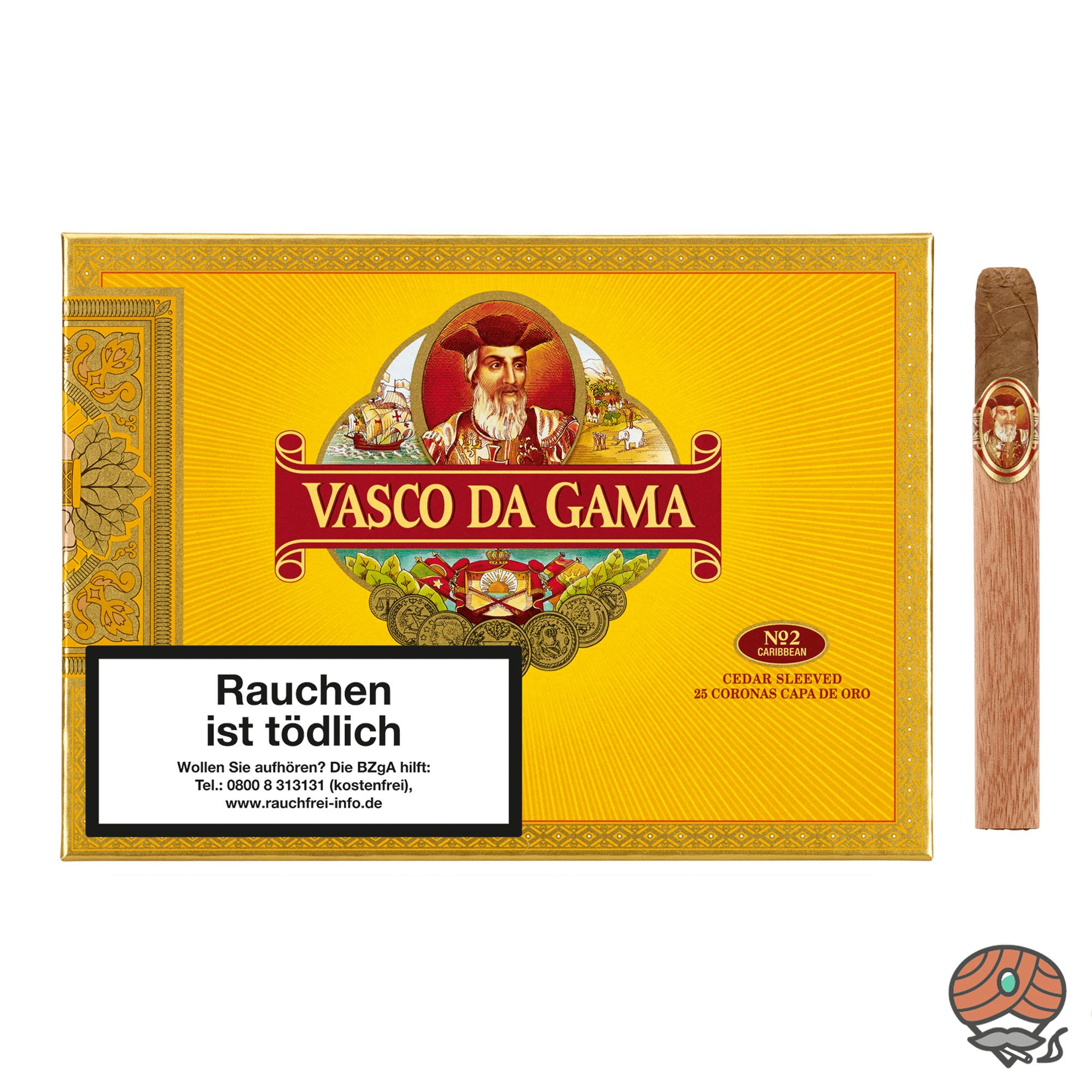 Vasco da Gama Corona Capa de Oro No 2 Caribbean 25 Zigarren