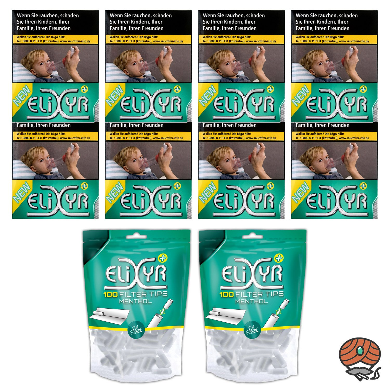 1 Stange Elixyr Plus Zigaretten 8 x 25 Stück + 200 Elixyr Menthol Filter Tips