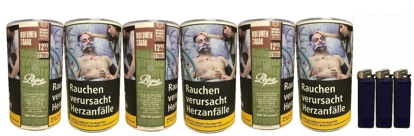 6x Pepe Rich Green Tabak / Volumentabak 85g + Feuerzeuge