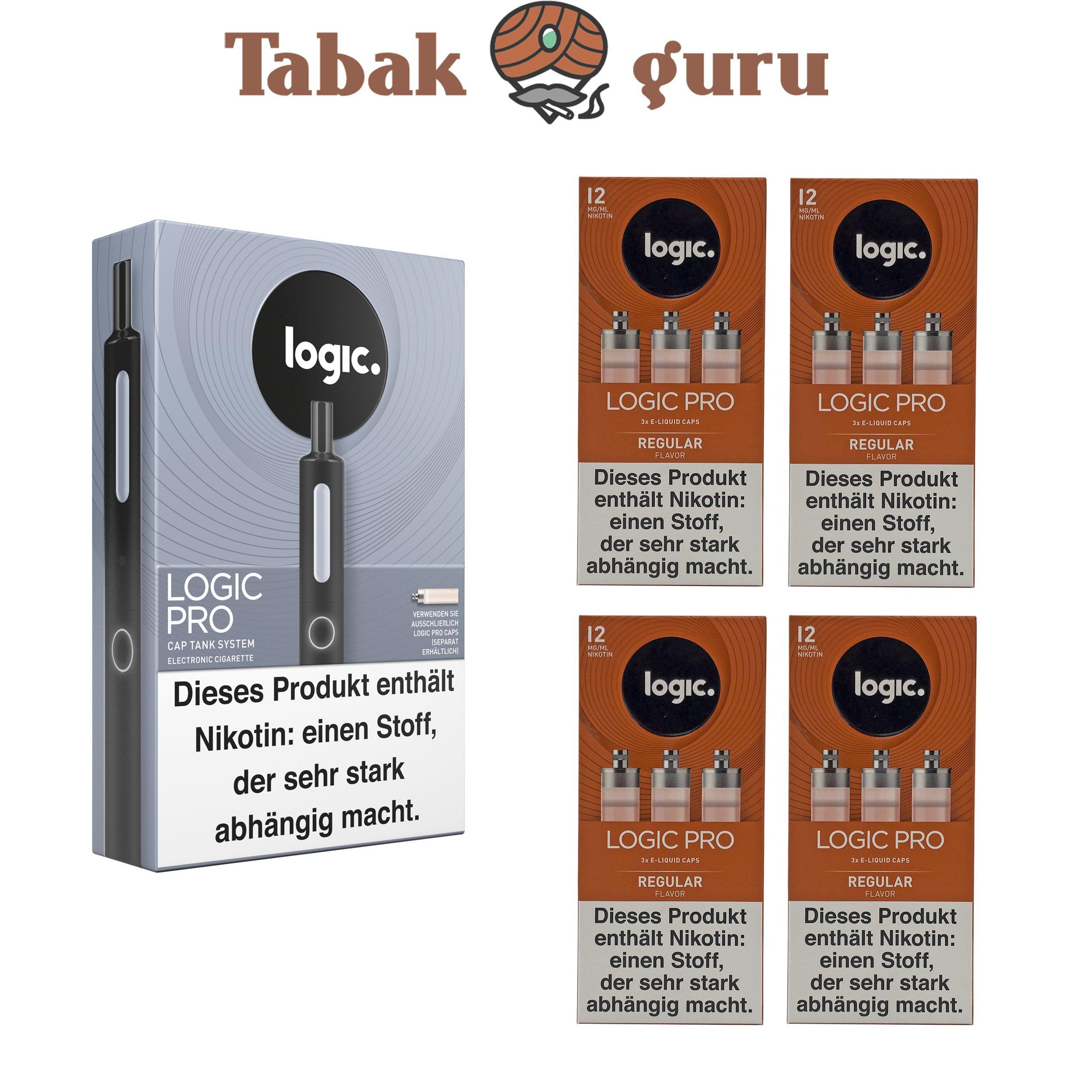 Logic Pro Cap Tank System Starterset Schwarz + 4x Regular Flavor Liquids