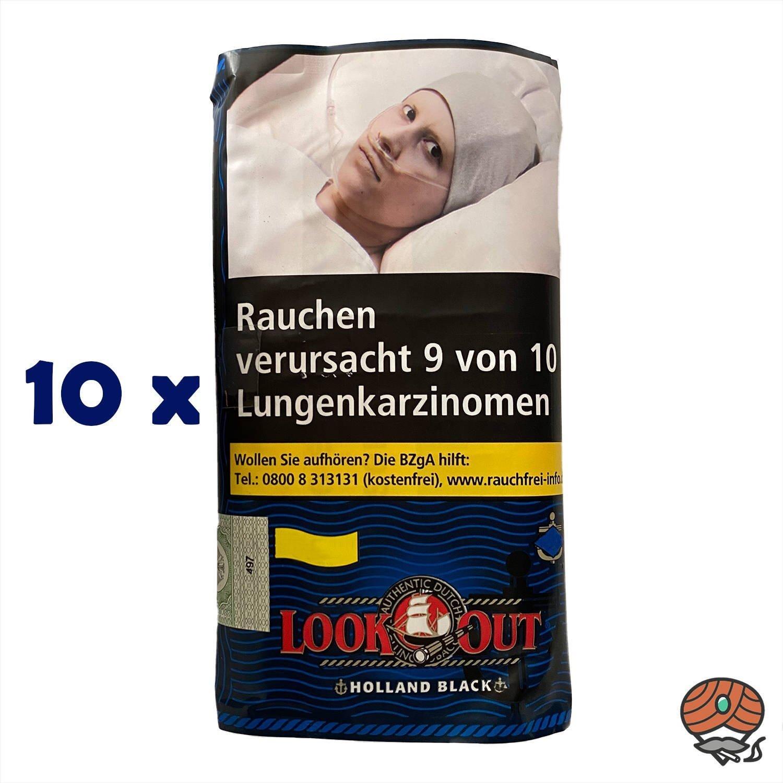 10x Look Out Holland Black (Zware) 50g Drehtabak Zigarettentabak