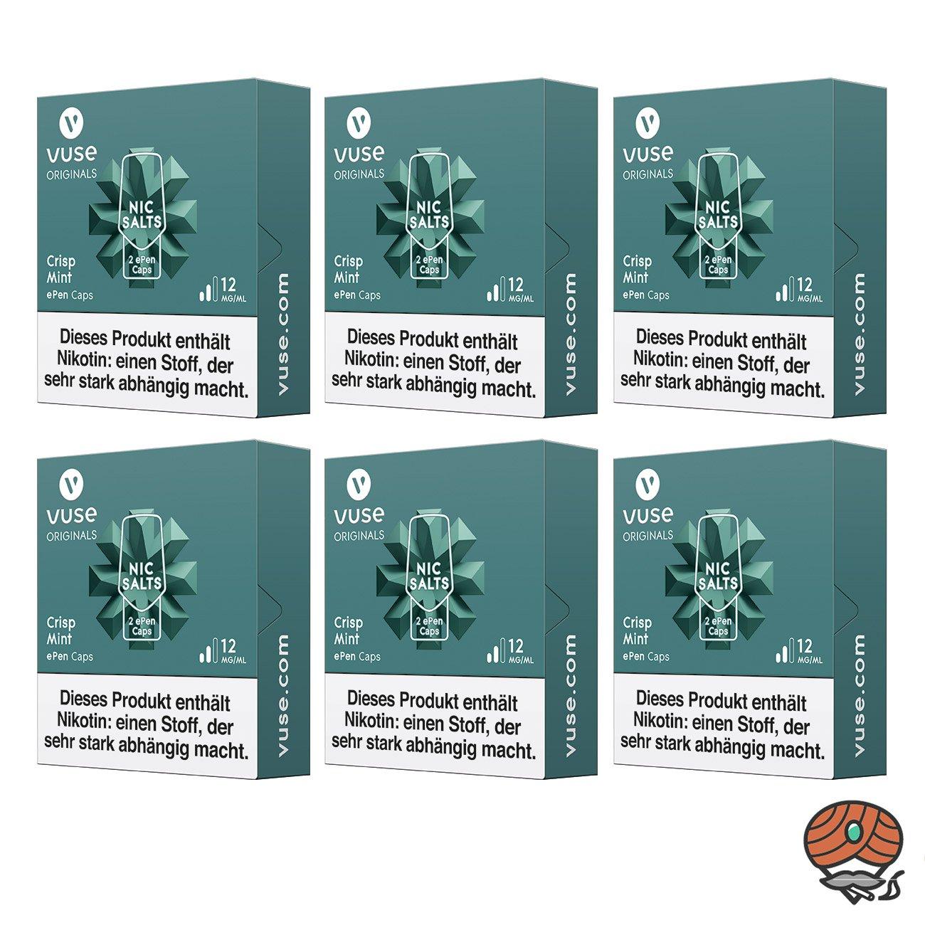Vuse ePen Caps 6x Crisp Mint 12 mg/ml à 2 Caps (ehem. Vype ePen3 Crushed Mint)