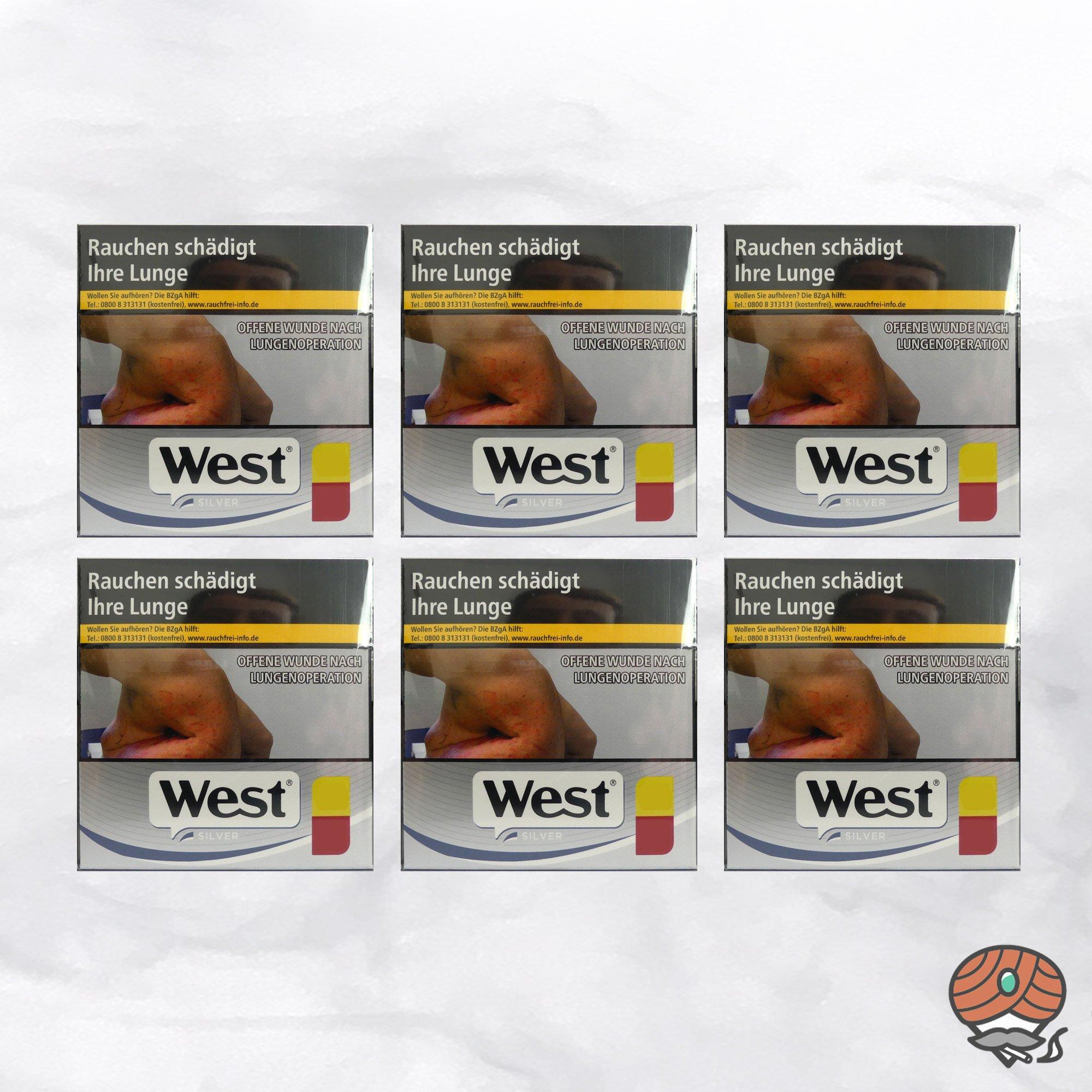 6 x West Silver / Silber Zigaretten à 50 Stück (1 Stange)