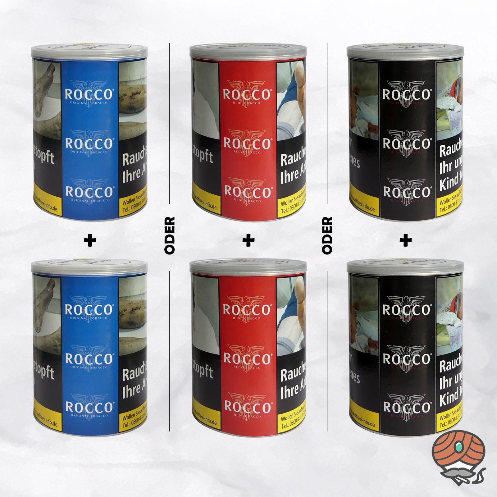 2 x ROCCO ORIGINAL oder RED oder BLACK Tobacco Drehtabak 130 g Dosen wählbar