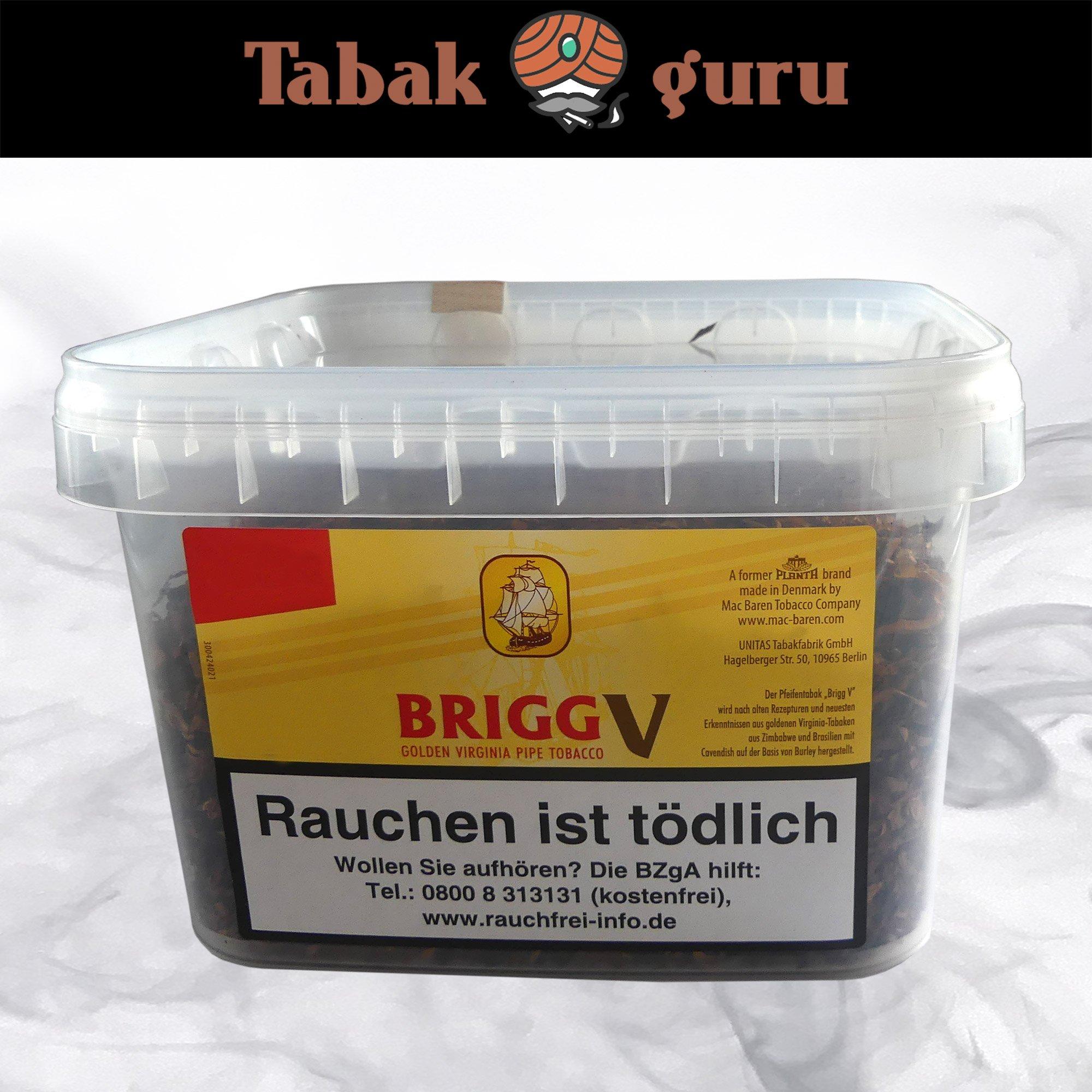 Brigg V Pfeifentabak im 400g Eimer Golden Virginia Tabak mit Vanille Aroma