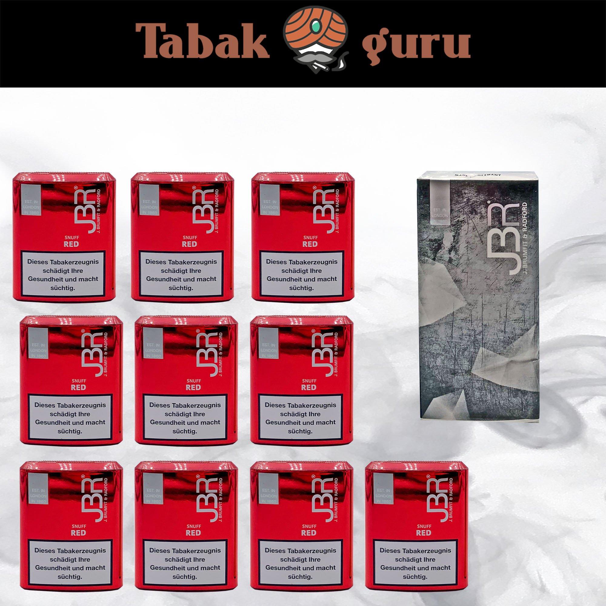 10 JBR Red Snuff Schnupftabak + Taschentücher