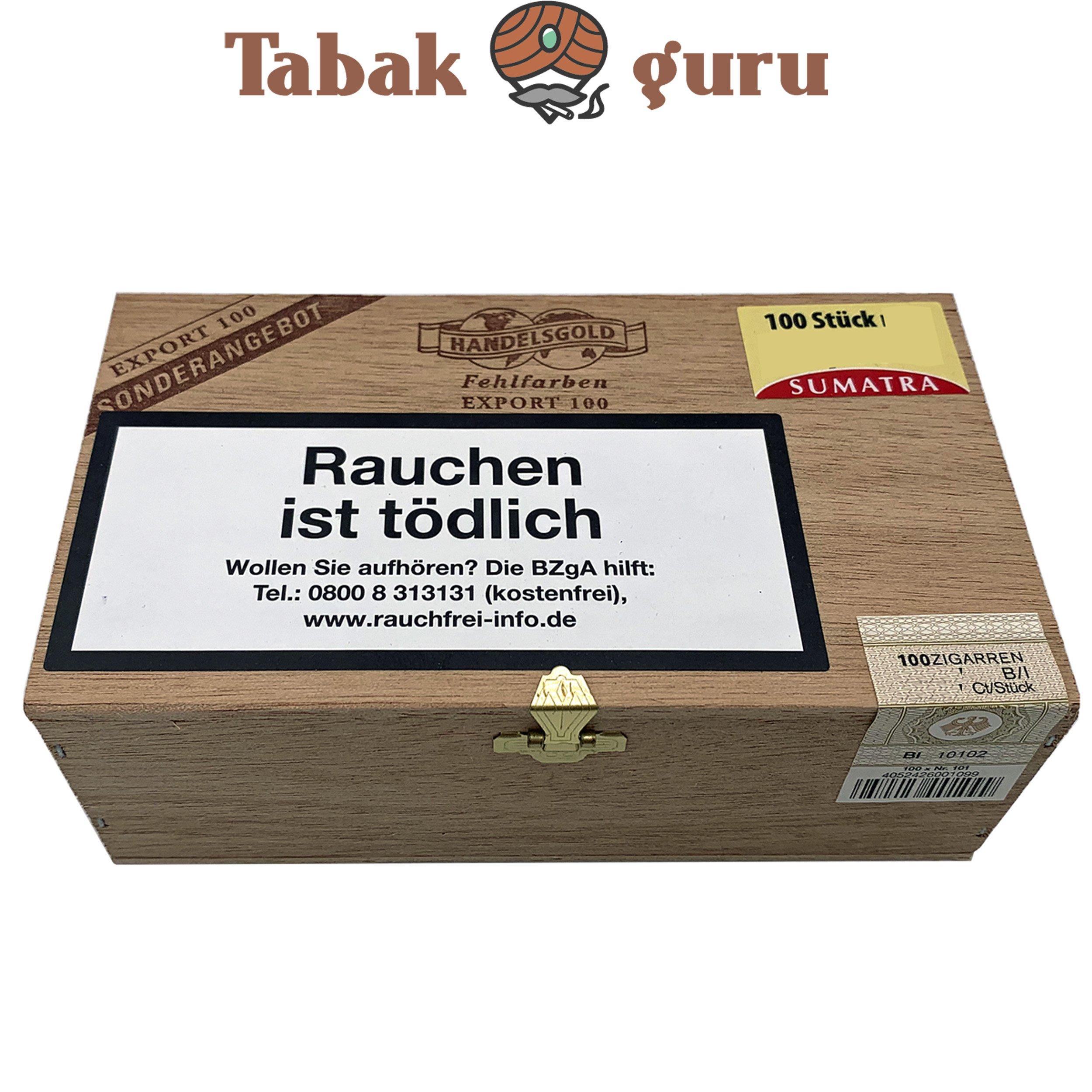 Handelsgold Fehlfarben Export 100 Sumatra 100 Zigarillos