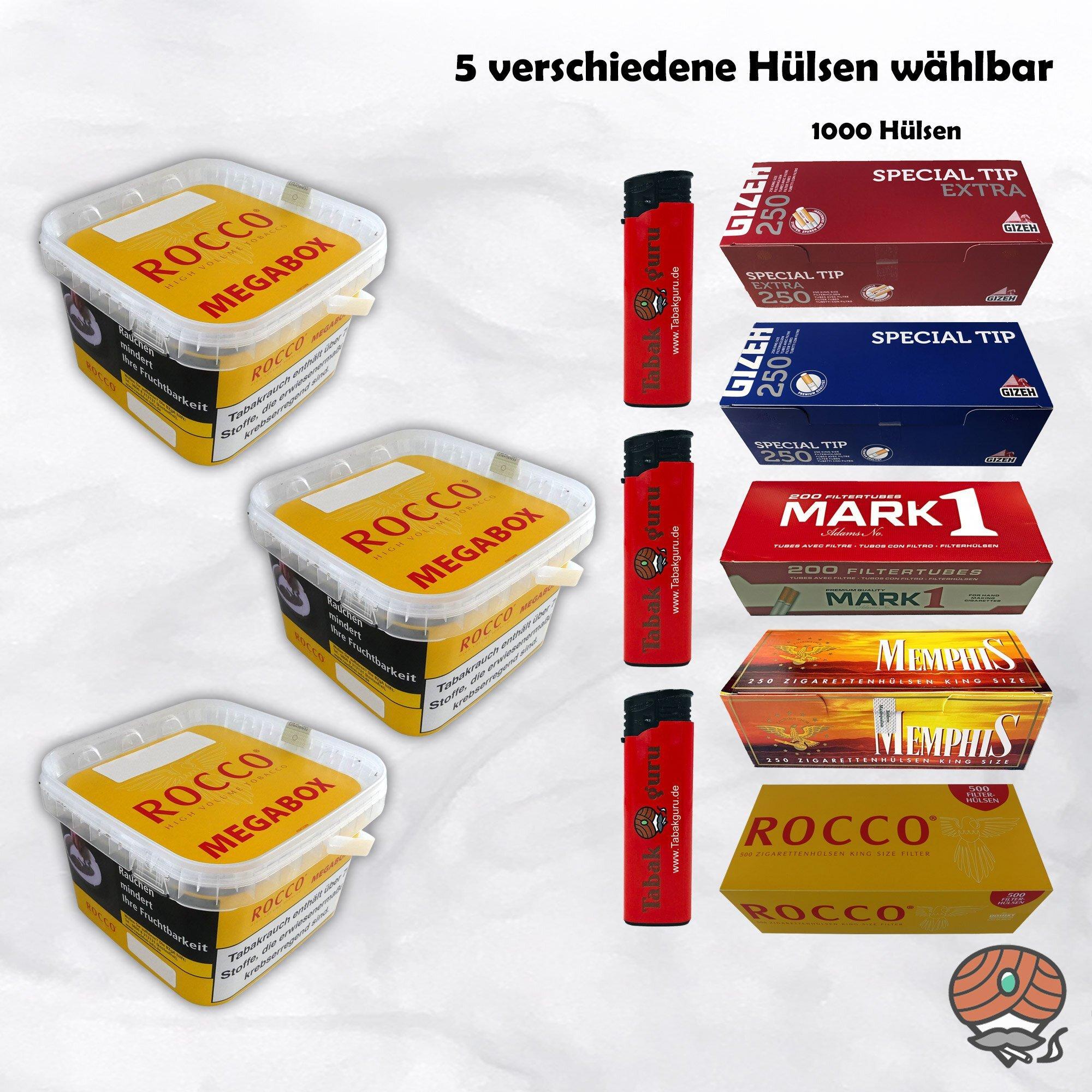 3 x ROCCO Volumentabak Gelb Megabox 210 g + 1.000 Hülsen wählbar