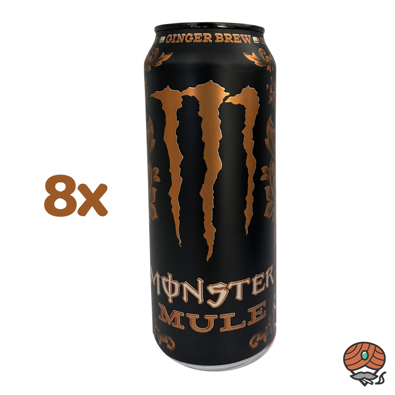 8 x Monster Mule Ginger Beer (alkoholfrei) Energy Drink, 500 ml Dose