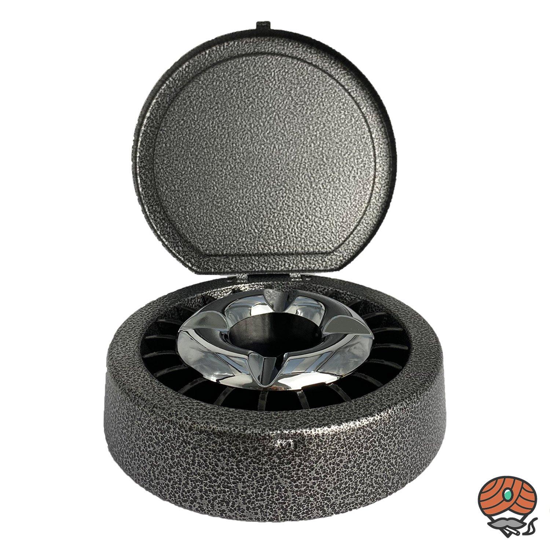 Aschenbecher mit Glutlöscher / Gluttöter und Deckel grau/schwarz marmoriert, 14 cm