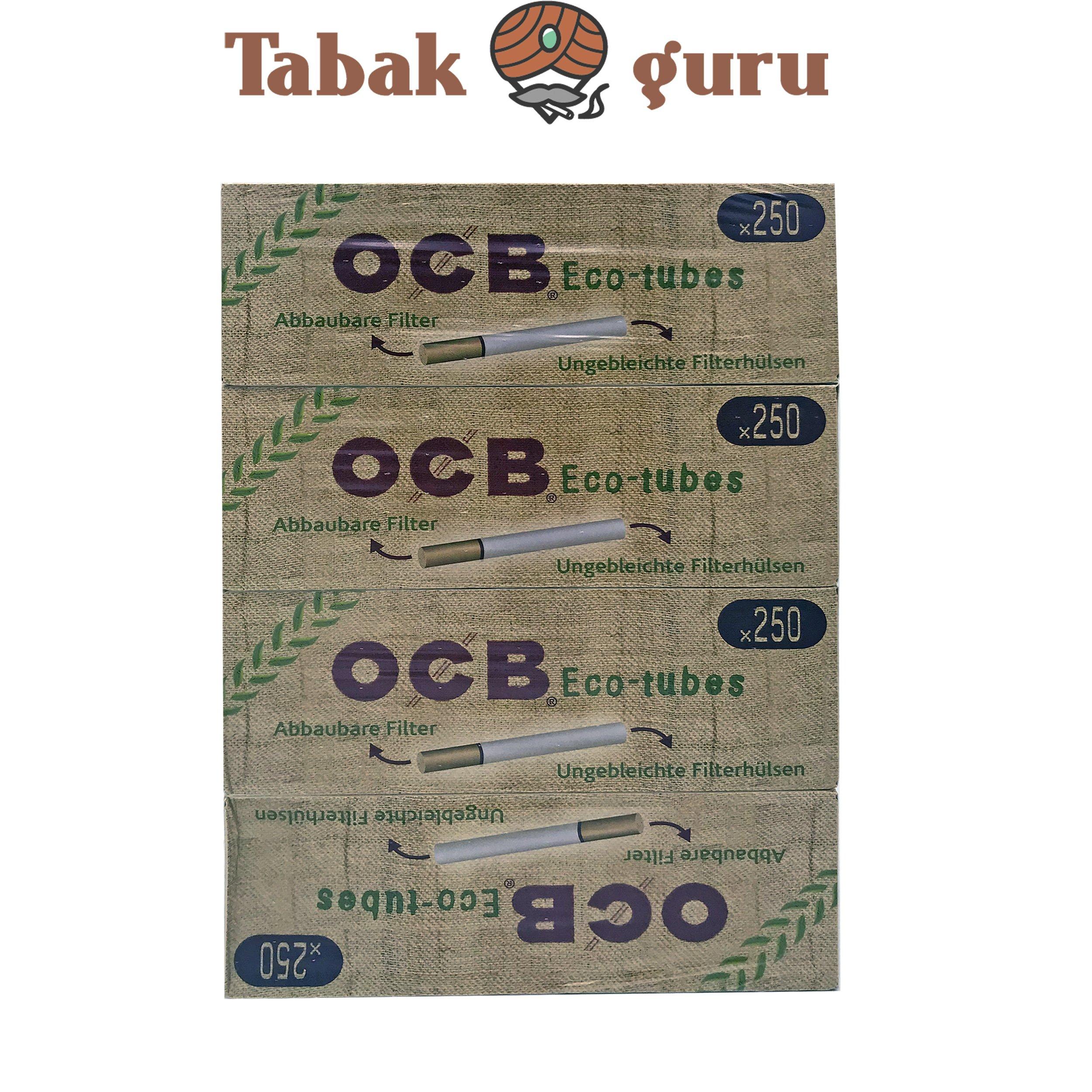 1.000 OCB Eco-Tube Filterhülsen = 4 Pack à 250 Stück