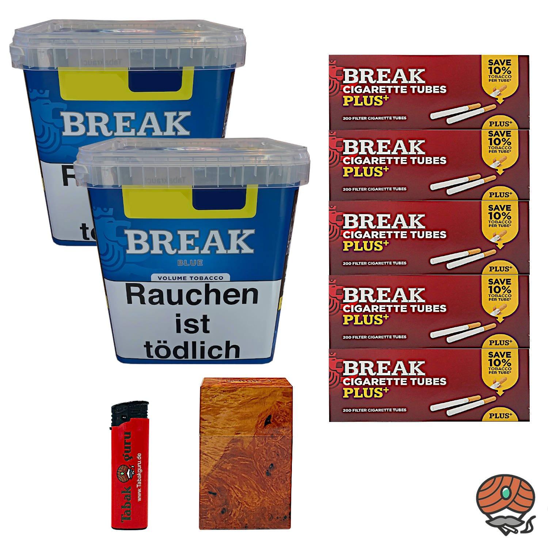 2 x Break Blue / Blau Volumentabak Giga Box 230 g + 1000 Break Extra-Hülsen + Zubehör