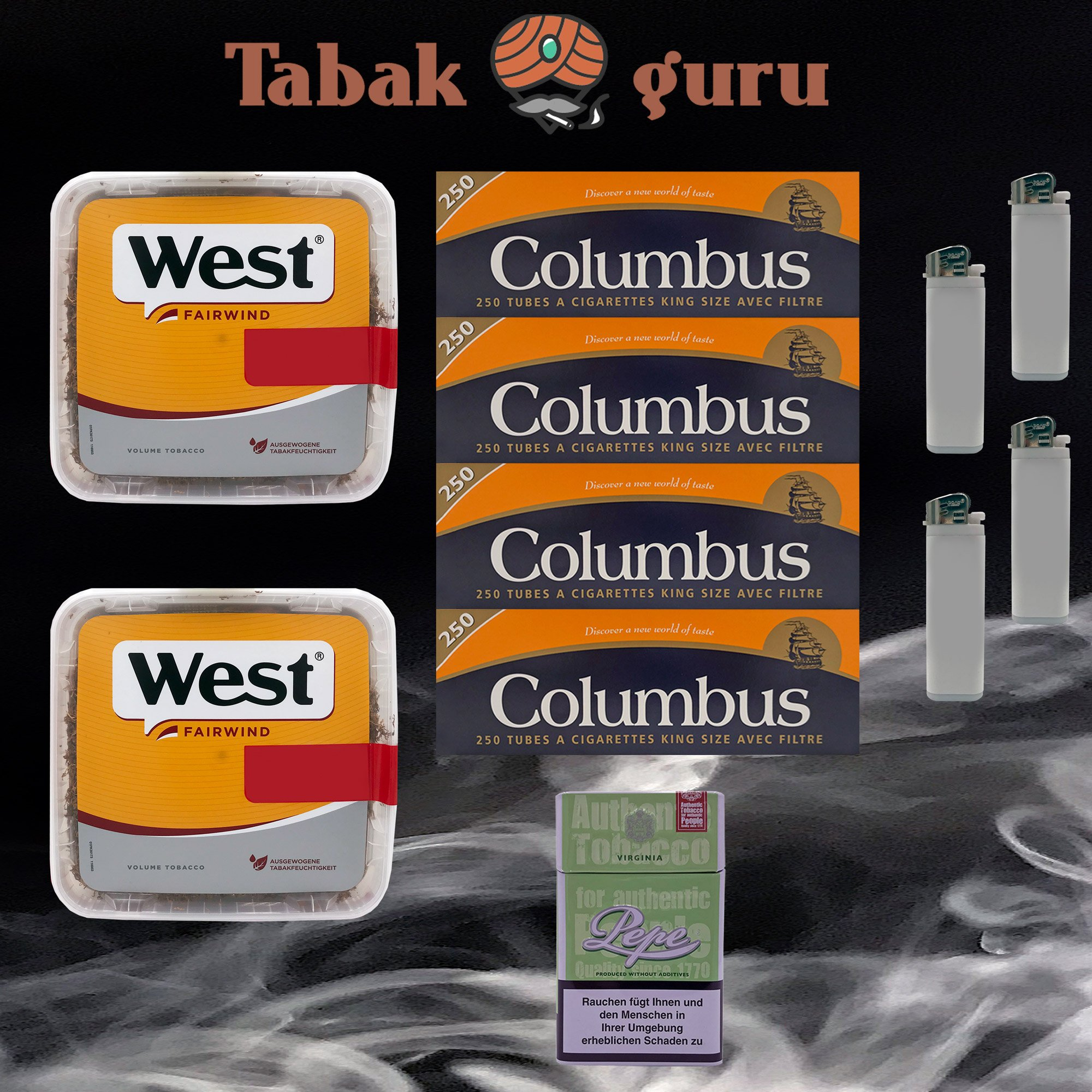 2x West Yellow Volumentabak Jumbo Box 215g + 1000 Columbus Hülsen + Zubehör