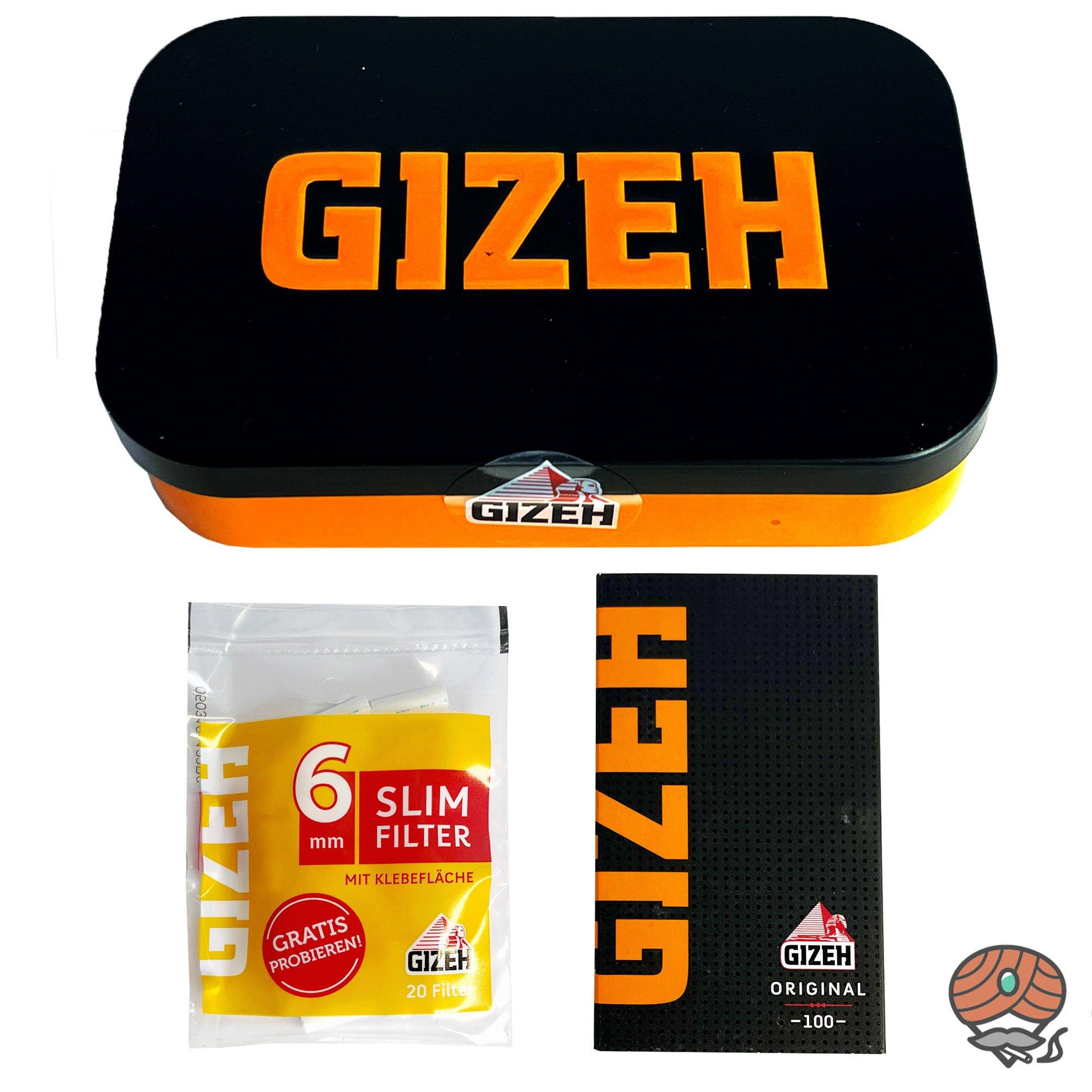 Gizeh Metallbox / Testbox  + Black Magnet Original Blättchen und Slimfilter