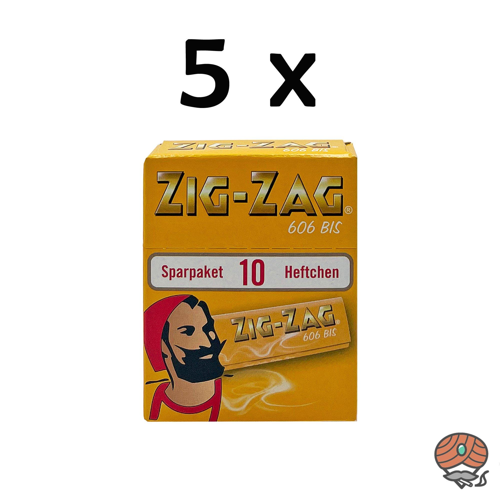 5x Zig-Zag Gelb im Sparpack Nr.606 Blättchen / Drehpapier 500 Blatt