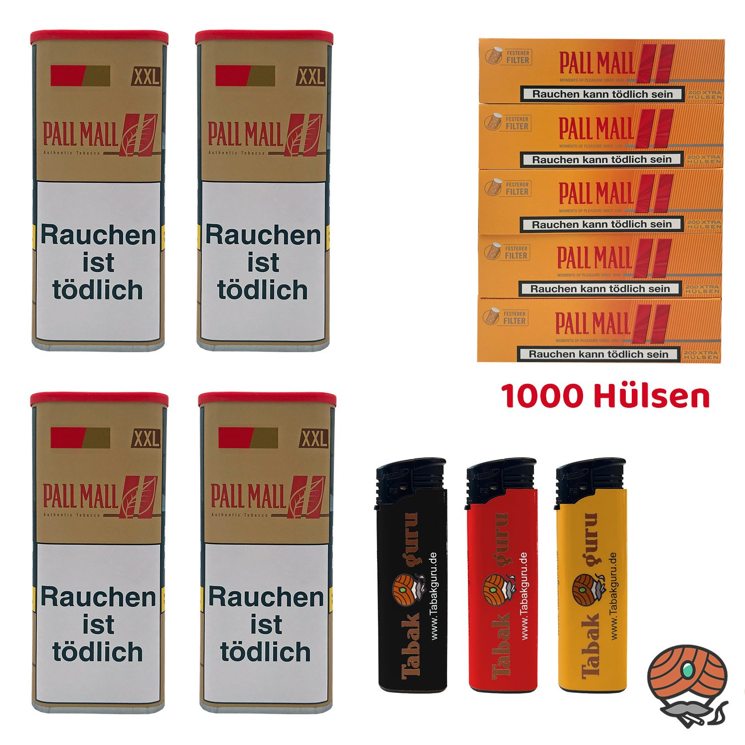 4x Pall Mall Authentic Red / Rot Tabak à 95g, Allround Hülsen, Feuerzeuge