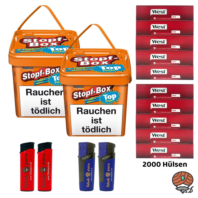 2 x Fargo Stopf-Box 480 g Volumentabak + 2000 West-Hülsen + Zubehör